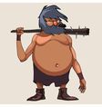 cartoon character big bellied man with a cudgel vector image