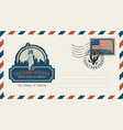envelope with statue of liberty and american flag vector image