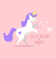 happy white unicorn vector image
