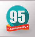 95 anniversary label with ribbon vector image vector image