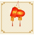 A set of orange-red Chinese lanterns with cherry vector image vector image