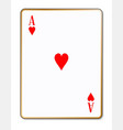 ace hearts playing card vector image vector image