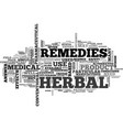 are herbal remedies the answer text word cloud vector image vector image