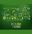 back to school scheme on green chalkboard vector image vector image