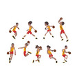 basketball player set athletes in uniform playing vector image vector image