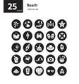 beach solid icon set vector image