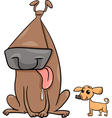 big and small dogs cartoon vector image