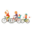 big family rides bicycles together isolated vector image