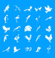 birds icon blue set vector image