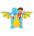 boy playing with the big blue dragon vector image