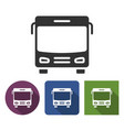 bus icon in different variants with long shadow vector image
