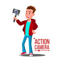 child boy with action camera self video vector image