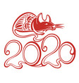 chinese happy new year 2020 funny mouse vector image vector image