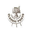 classic photo camera logo vector image vector image