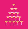 cocktail glasses stacked in a pyramid tower vector image