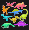 colorful collection of prehistoric reptiles giant vector image
