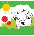Cow With Red Flowers vector image vector image