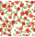 cute flat style abstract red poppy seamless vector image