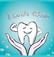 dental care tooth on hand vector image vector image