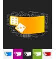 dice paper sticker with hand drawn elements vector image