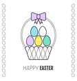 Easter basket with a ribbon and eggs flat icon vector image vector image