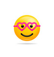 emoji smile icon symbol smiley face with heart vector image vector image