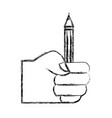 figure hand with pencil school utensil to study vector image vector image