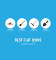 flat icon garden set of harrow spade hacksaw and vector image vector image