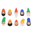 garden gnomes emotions cute dwarf characters vector image vector image