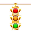 golden traffic lights with all three colors vector image