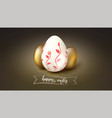 greeting card with painted and golden eggs for vector image