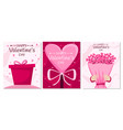 happy valentines day set three holiday posters vector image vector image