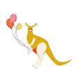 kangaroo holding colorful balloons cute animal vector image