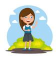 little girl happy character vector image vector image