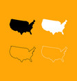 map of america set black and white icon vector image