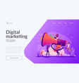 marketing team landing page template vector image vector image