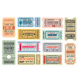 music concert retro tickets admits templates set vector image