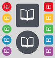 Open book icon sign A set of 12 colored buttons vector image vector image