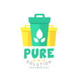 original pure solution logo design template with vector image vector image