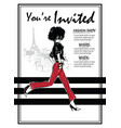party invitations with fashion woman in sketch vector image vector image