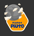 planet pluto design hexagon frame background vector image vector image