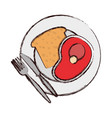 plate with bread an meat vector image vector image