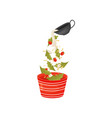 pour berries and leaves for salad in the vector image vector image