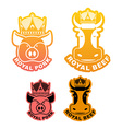 Royal pork and beef logo Cow in crown Pig in vector image