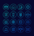 servers network hosting and data line icons set vector image vector image