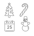 set christmas icons in thin line style vector image vector image
