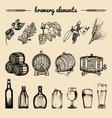 set of vintage brewery hand sketched vector image