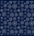 snowflakes seamless pattern dark winter vector image