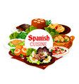 spanish cuisine food seafood meat vegetables vector image vector image