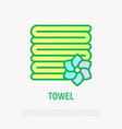 stack of folded towels thin line icon vector image vector image